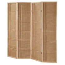 Folding Natural Finish Wooden 4-Panel Screen