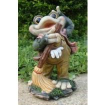 Frog Holding Mop Garden  Sculpture