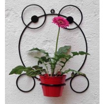 Frog Shape Bracket with Red Bucket Planter