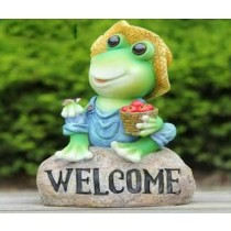Frog Sitting On Rock With Welcome Message