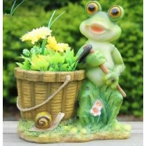 Frog With Shovel Garden Planter Sculpture