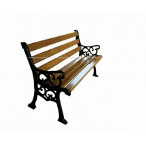 FRP Strip Brown With Black Cast Iron Garden Bench