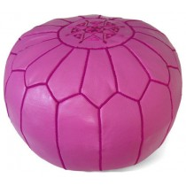 Fuchsia Pink Leather Cover Floor Pouf