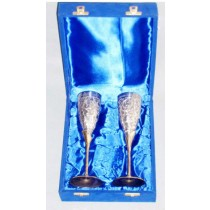 Full Engraved 2 Pc Goblet Set In Velvet Box, 10 Inches