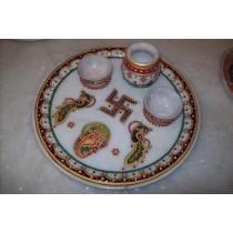 Full Round Pure White Designer Puja Plate
