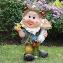 Garden Gnome Holding Bird & Mushroom