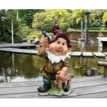 Garden Gnome Holding Hammer Sculpture