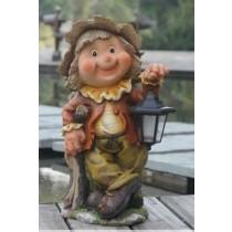 Garden Gnome Holding Lamp