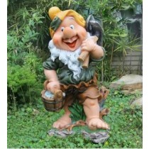 Garden Gnome Holding Tools & Basket