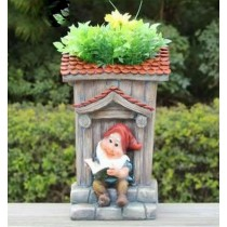 Garden Gnome Reading Book House Shape Planter
