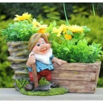 Garden Gnome With Axe & 2 Flower Pot