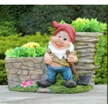 Garden Gnome With Axe Decorative Flower Pot