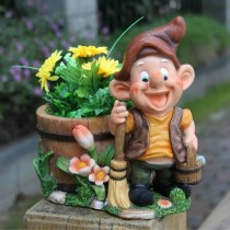Garden Smiling Worker With Brush Flower Pot