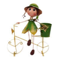 Girl With Green Yellow 18 Inch Metal Bicycle Planter