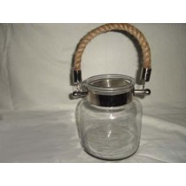 Glass Jar Candle Holder With Rope Handle