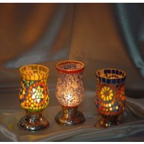 Glass With Metal Mosaic Candle Holder