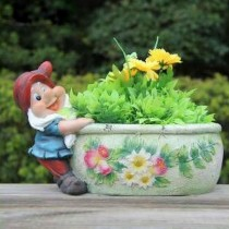 Gnome Dragging White Floral Design Garden Planter