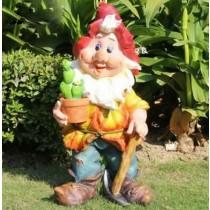 Gnome Holding Cactus Pot Garden Sculpture