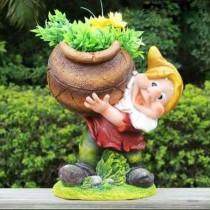 Gnome Holding Flower Pot(Size 23.4 X 17 X 26.7 Cm)