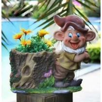 Gnome Holding Garden Flower Pot