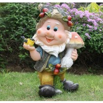 Gnome Holding Mushroom Garden Sculptures