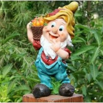 Gnome Holding Pumpkin Basket Statue