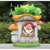 Gnome Inside Mushroom House Garden Planter
