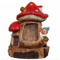 Gnome Mushroom House Waterfall Fountain