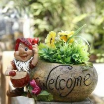 Gnome Playing Drum Garden Round Planter