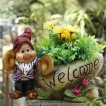 Gnome Playing Hand bells Garden Planter