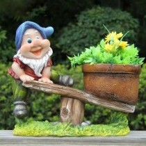 Gnome Playing Sea Saw Garden Planter