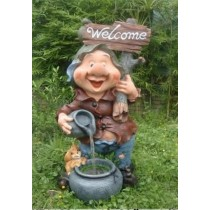 Gnome Pouring Water on Pot Welcome Board