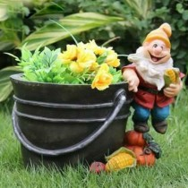 Gnome Standing on Pumpkin Garden  Planter