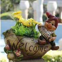 Gnome With Accordion Garden Planter