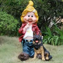 Gnome With Animal Garden Sculpture