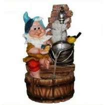 Gnome With Bird Indoor Waterfall Fountain