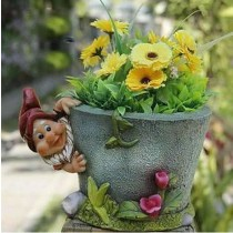 Gnome With Designer Gray Garden Flower Pot