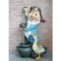 Gnome With Duck Garden Waterfall Fountain