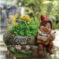 Gnome With Guitar Garden Planter Sculpture