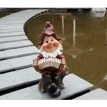 Gnome With Instrument Sculpture