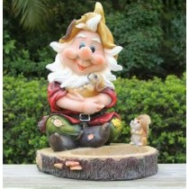 Gnome With Puppy and Squirrel Sculpture