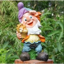 Gnome With Purple Cap & Basket Sculpture