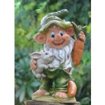 Gnome With Rabbit And Carrot Garden Sculpture