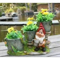 Gnome With Staircase Three Decorative Planter Sculpture