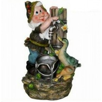 Gnome With Two Duck Waterfall Fountain