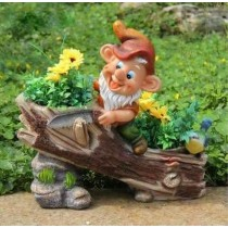 Gnome With Vehicle Garden Planter Sculpture