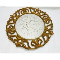 Gold Crackle Round Plate