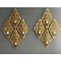 Gold Finish Wall Mount Candle Scone