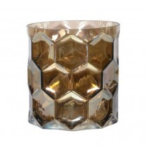 Gold Mosaic Hurricane Tea Light Holder