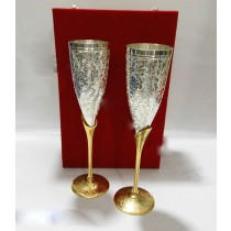 Gold & Silver Plated Champagne Glass Set of 2 Pcs
